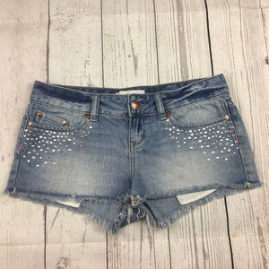 PINK VS embellished cutoff jean shorts B34